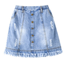 6 to 16 years kids & teenager girls summer denim ripped jeans skirts children fashion casual skirt clothing