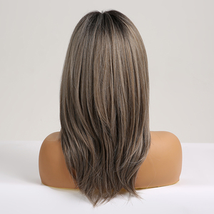 Image 5 - ALAN EATON Medium Layered Straight Synthetic Wig for Black Women Ombre Black Brown Gray Ash Hair with Bangs Heat Resistant Fiber