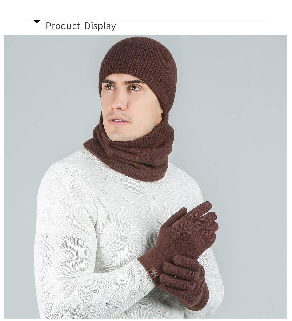 Evrfelan модный мужской женский зимний комплект шапка и шарф и наборы перчаток для мужчин вязаный плотный теплый комплект из 3 предметов аксессуары в стиле унисекс