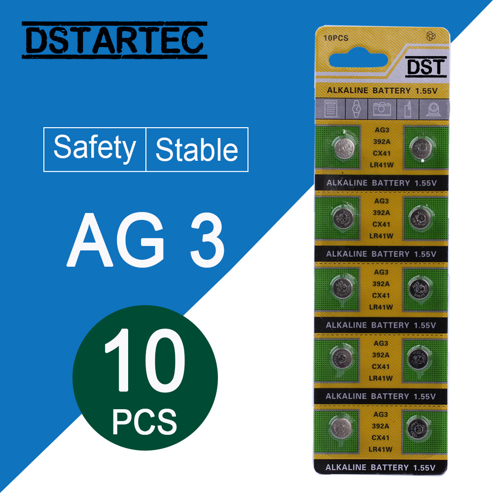 10pcs/card 30mAh 1.55V AG3 392A L736 LR41 392 384 SR41SW CX41 192 AG 3 Button Batteries For Watch Toys Remote Cell Coin Battery
