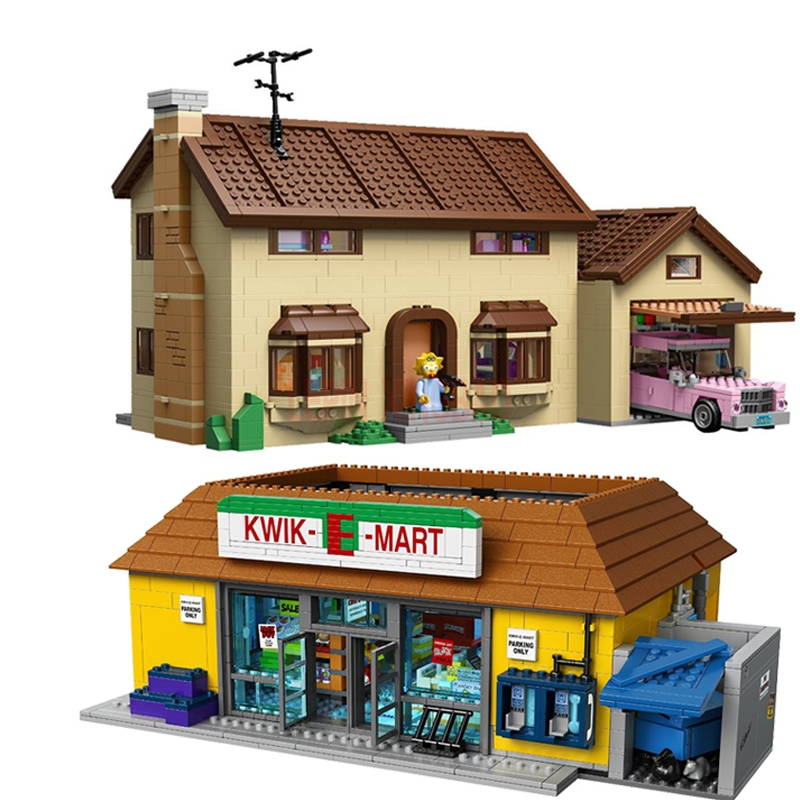 16004 16005 Legoinglys The Simpsons KWIK-E-MART Simpson's Family Model Building Block For Kids Toys Clone Lelyesing 71016 71006