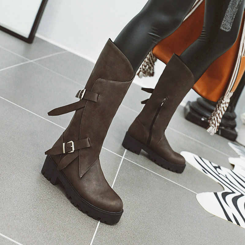 AIWEIYi Knee High Boots for Women Round toe Square Heel Med Heels Thigh High Boots Autumn Winter Martin Boots Motorcycle Boots
