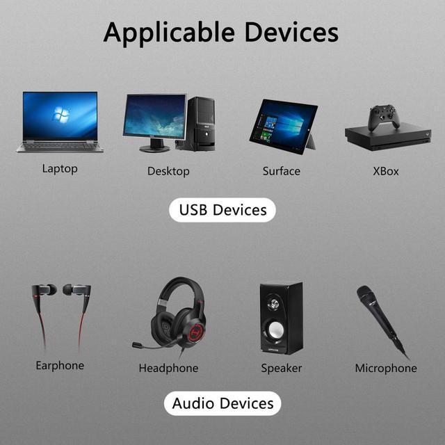 GOOJODOQ External USB Sound Card Adapter Audio 5.1 virtual 3D USB to 3.5mm microphone Speaker headphone Interface For Laptop PC 5