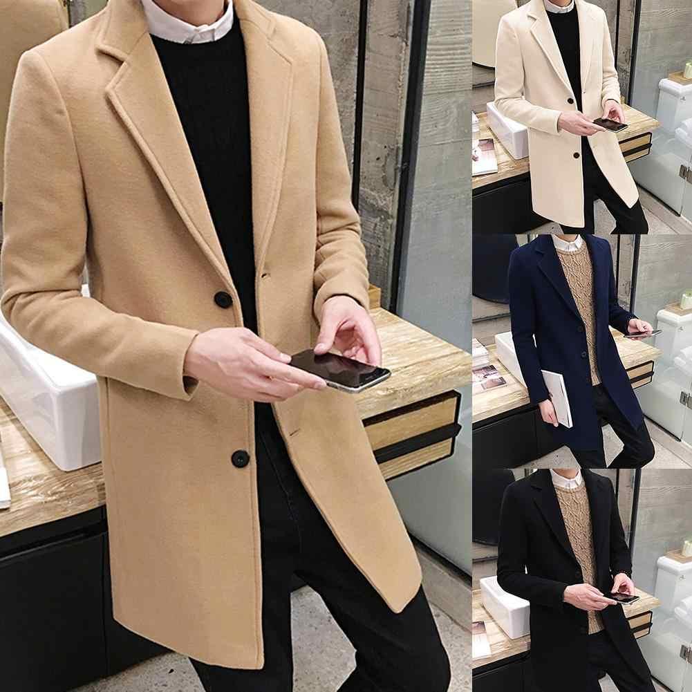 De talla grande para hombre de Color sólido de manga larga botones de cuello de solapa de lana gabardina abrigo de cuello largo de algodón gabardina ropa de calle