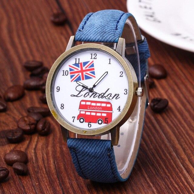 Reloj hombre venda quente denim retro carro bandeira britânica relógio casual relógio unisex relógio de presente de aniversário para mulher 6