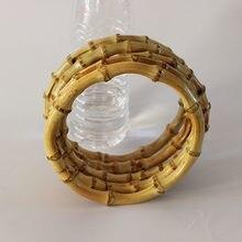 10 Pcs Muito O Forma de 15 Centímetros Natureza Bamboo Handle Quadro Bolsa O Saco Cabide Acessórios Asas Parágrafo Bolso Ratten cana de Bambu Saco de Lidar Com