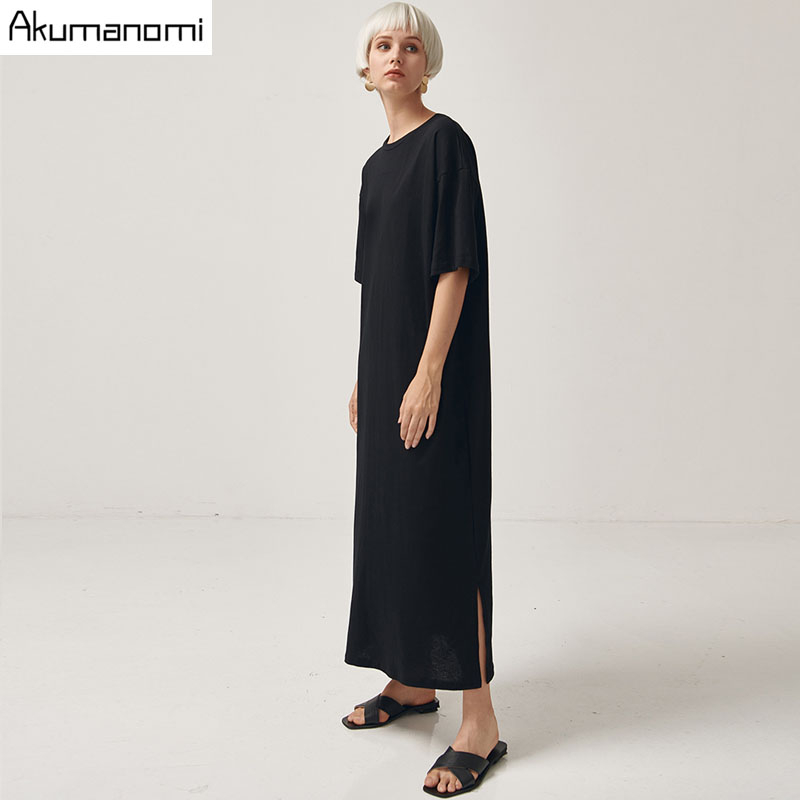 Black Cotton Long Dresses Ladies Plus Size Women Xxxl 4xl 5xl 6xl 7xl O-neck Short Sleeve Befree Maxi Casual Dress Cotton Tops 2