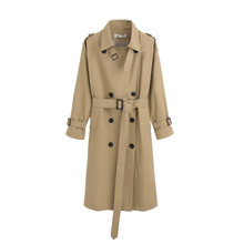 Long coat double-button waistband Khaki ladies'clothes quality in autumn and spring manteau femme women fashion windbreaker(China)