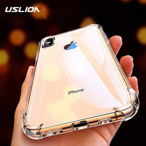 USLION Shockproof Armor Clear Case For iPhone 11 Pro Max XS Max XR X 8 7 6 6s Plus 5 5s SE Transparent Phone Cases Airbag Cover(China)