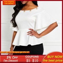 Elegant White Women Work Blouse Top Summer African 2021 High Waist Tunic Peplum Ruffle Shirts Office Lady Falbaba Blouses Tops