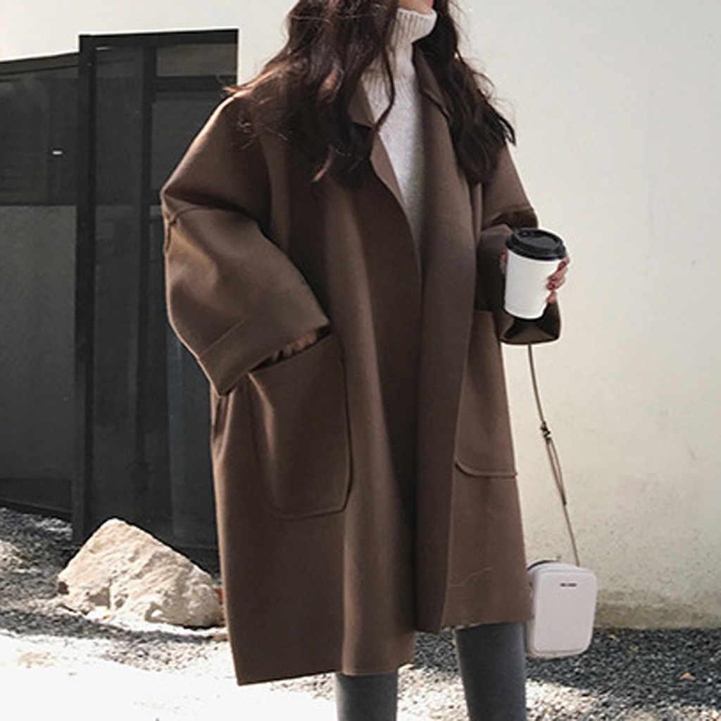 Mode Vrouwen Pocket Lange Mouwen Vest Casual Wol Blends Losse Tops Trenchcoat Winter Korea Stijl Lange Effen Losse Jas