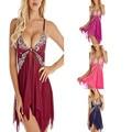 Ladies Sexy Lingerie Hot Lingerie Erotic Dress Transparent Lace Nightdress + Thong Erotic Lingerie Mesh Pajamas Underwear