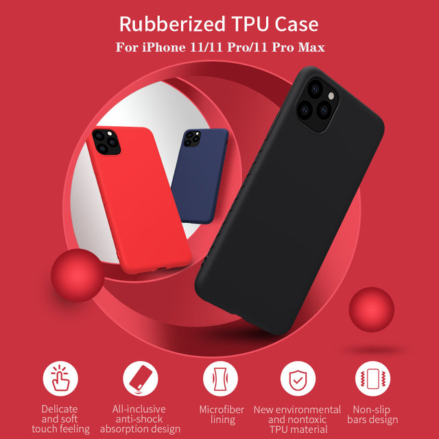 Nillkin capa para iphone 11 pro max caso de borracha envolvido tpu caso protetor do telefone capa traseira para iphone 11 pro para iphone11 caso