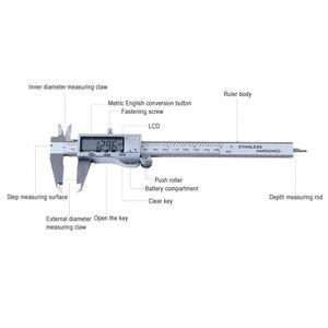 Image 3 - LCD dijital ekran elektronik paslanmaz çelik sürmeli kaliper 0 150mm mikrometre ölçme aracı cetvel ölçer