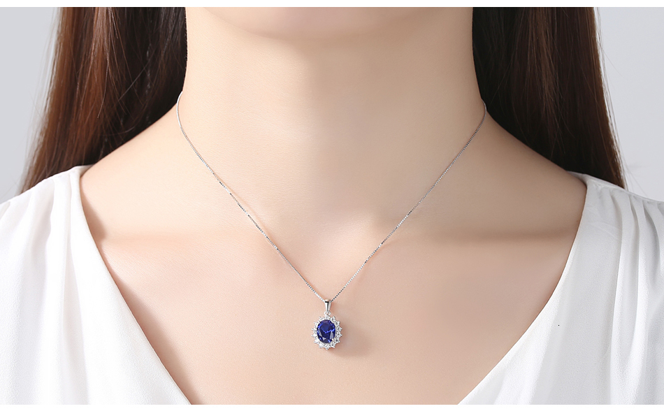 H95ea0b9e6bf542018b511e6fff400f034 CZCITY Elegant Oval Princess Diana William Sapphire Pendant Necklace for Women 100% 925 Sterling Silver Charms Necklace Jewelry