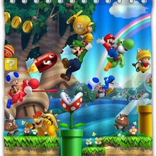 Super Mario Game Shower Curtain Waterproof with Color Bathroom Decoration
