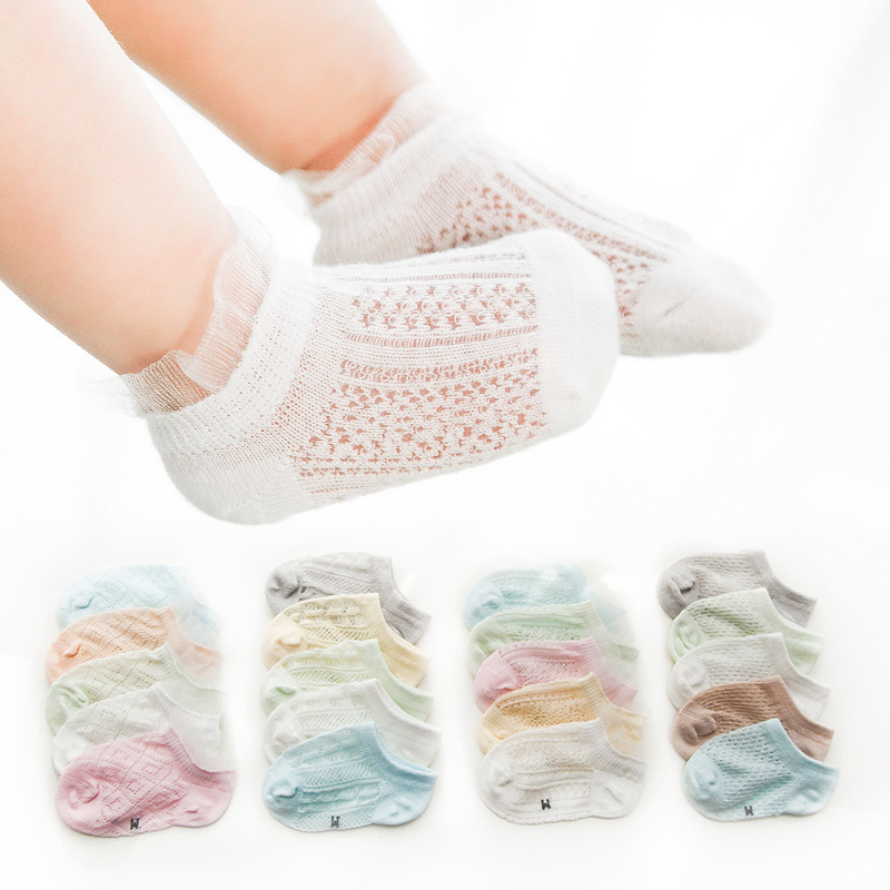17 New Style CHILDREN'S Socks Summer Thin Section Combed Cotton Mesh Cotton Jersey Infant Lace Baby No-show Socks