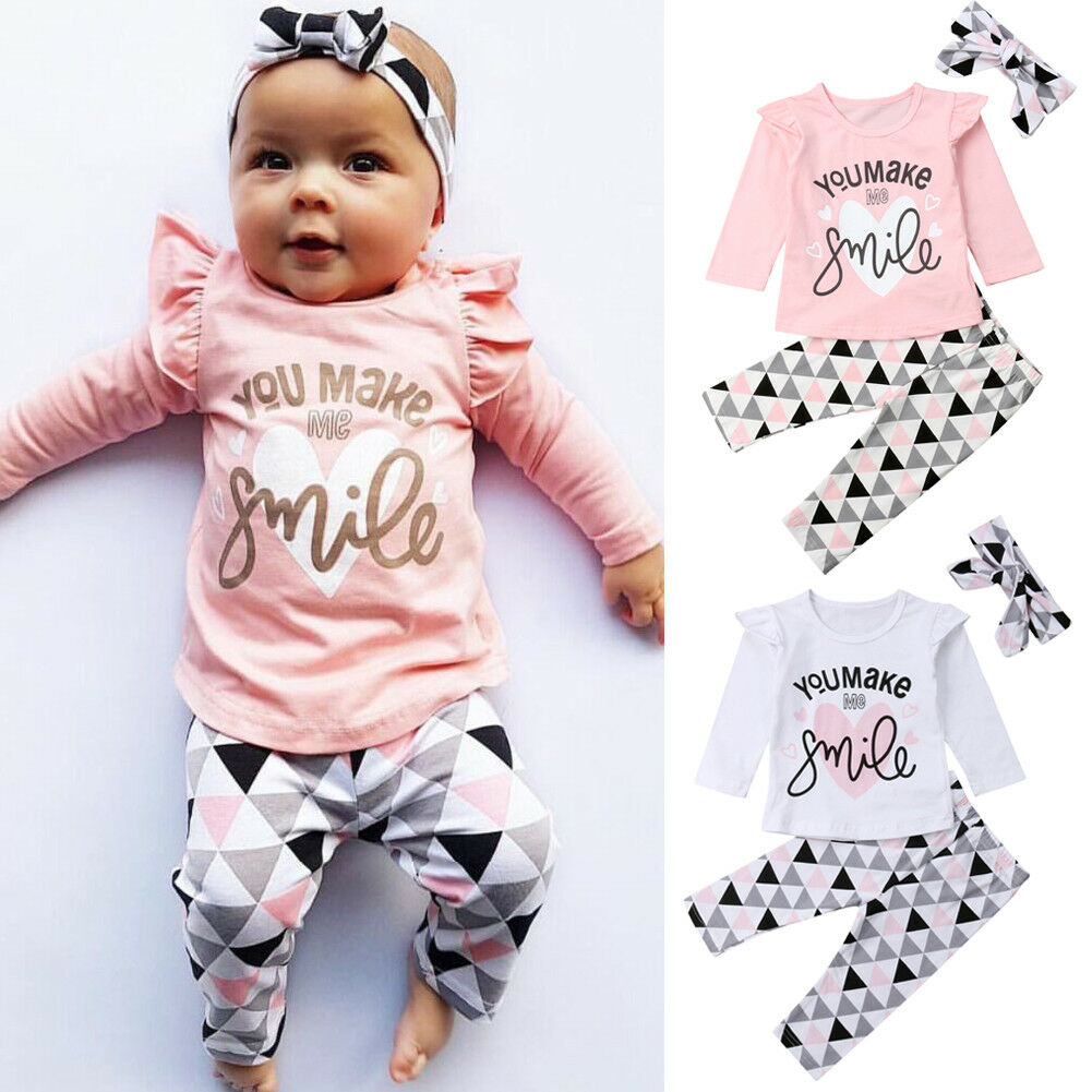 Cute Newborn Baby Girl Clothes Set Long Sleeve Ruffle T-shirt + Print Pants + Bow Headdress 3Pcs Comfort Infant Girl Suit