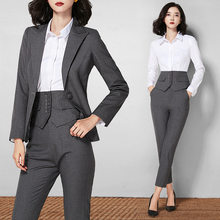 JRHYME 3 Pieces Set Women Suits Pants Blouse Professional Occassion Lady Jacket & Tapered Pants In Pop Grey,Formal Work Attire(China)