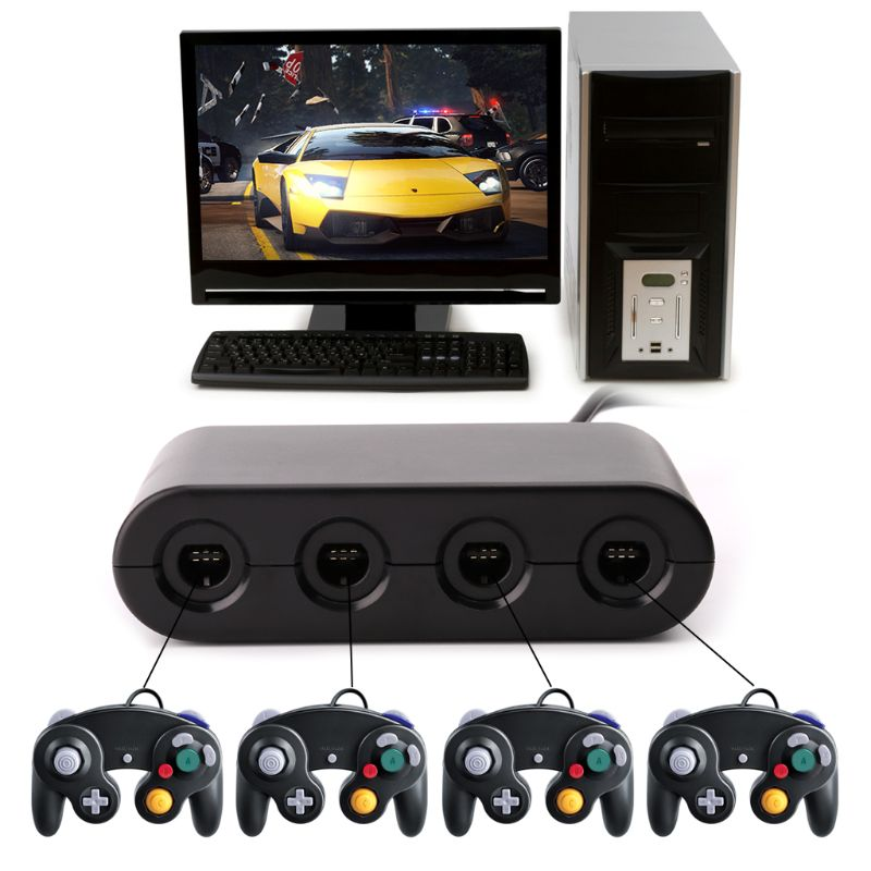 3 in 1 <font><b>GC</b></font> to Wii U PC Switch Gamecube Controller Adapter Converter PC USB for Nintendo D08A image