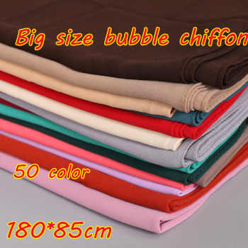 Big size women High quality bubble chiffon printe solid color shawls hijab winter muslim 45 color scarves/scarf 180*85cm - DISCOUNT ITEM  7% OFF All Category