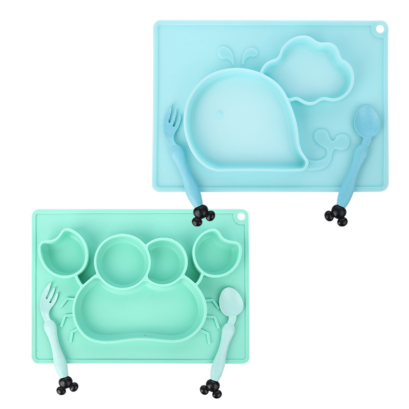 3pcs Baby Silicone Dining Plate Cartoon Whale Crab Toddler Tableware Set Children Feeding Bowl Plates Kids Dishes Anti-fall Tray