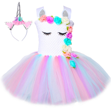Vestido de tutú de unicornio para niñas de flores Pastel Rainbow Princess Vestido de fiesta de cumpleaños para niñas Niños Niños Disfraz de unicornio de Halloween 1 14y