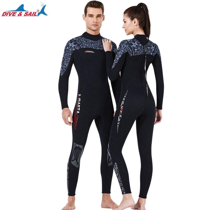 Цельные Гидрокостюмы 3 мм, неопреновые костюмы для подводного плавания с застежкой-молнией сзади, цельный купальный костюм с длинным рукавом для водных видов спорта для мужчин и женщин