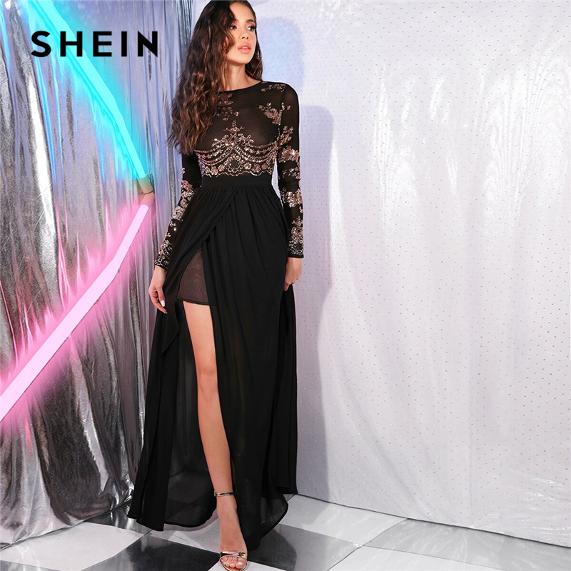 SHEIN Black Open Back Sequin Mesh Bodice Sexy Split Thigh Dress Women Spring Long Sleeve Floral Night Out Party Maxi Dresses 1