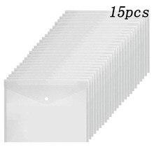 15 pçs/set A5 Plástico Transparente/A4 Segurar Sacos Saco de Documentos de Arquivo Pastas Pastas Arquivamento Escritório Escola Suprimentos De Armazenamento De Papel
