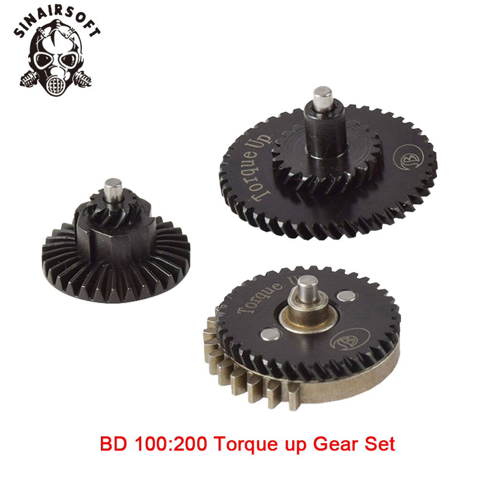 Hot BD High Quality CNC 100:200 Torque Up Gear Set Fit Ver.2 / 3 AEG Airsoft Gearbox For Hunting Paintball Shooting