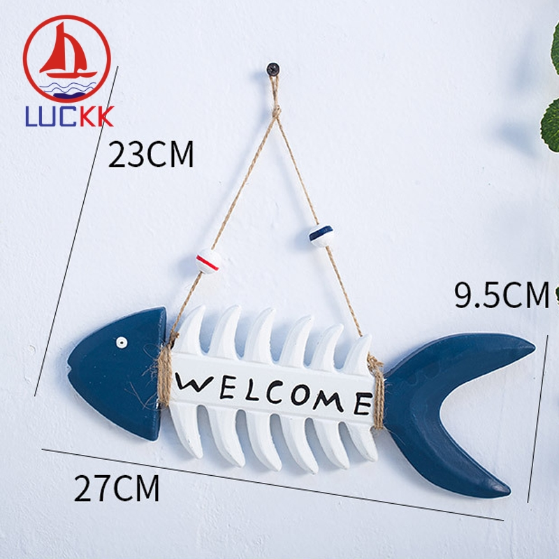LUCKK Mediterranean Hanging Wood Fish Bone Welcome Board Doorplate Home Decor Pub Restaurant Store Wall Art Furnishing Welcome in Plaques Signs from Home Garden