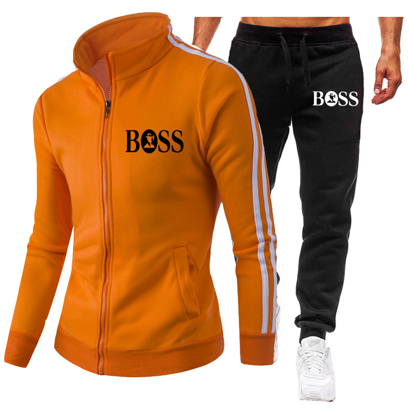 New men's spring and autumn brand casual sportswear + pants two pieces of casual sportswear men's sports fitness clothing