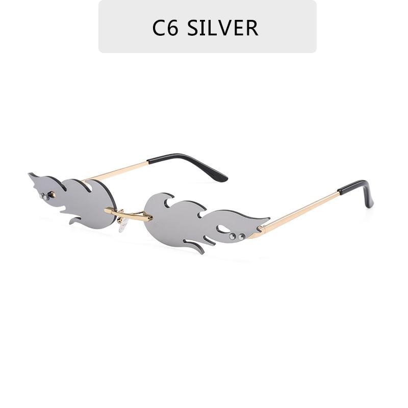 Luxury Fashion Fire Flame Sunglasses Women  Rimless Wave Sun Glasses Metal Shades For Vintage Women Mirror Eyewear UV400 7