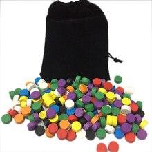 80 pces com diâmetro do saco 10*5mm 8 cores peças de jogo de madeira do peão colorido/xadrez para o jogo de tabuleiro/jogos educativos acessórios