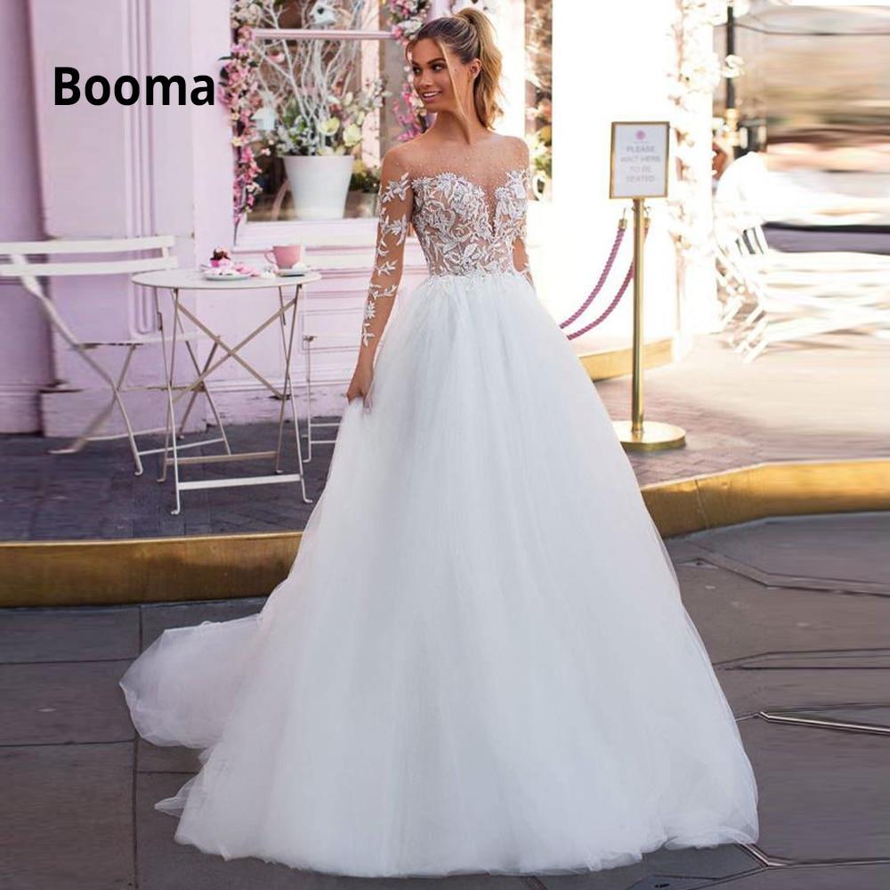 Booma Vestido De Novia Long Sleeve Wedding Dresses Beach 2020 Lace Appliqued Soft Tulle Bridal Gowns Boho Princess Party Dress