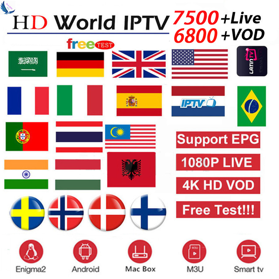 7500+Live World Pro Israel HD IPTV Subscription For Nordic UK France USA Germany Dutch For M3U Enigma2 IOS Android TV Box