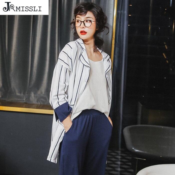 JRMISSLI Pyjamas Women Style Long Sleeve Women's 3 Piece Home Clothes Home Suit Spring Cotton Long Pants Pajama Sets Women