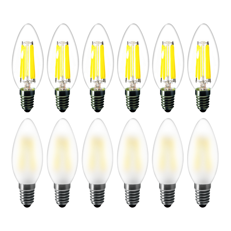 6pcs lot Frosted led light bulb e14 2w 4w 6w dimmable C35 cob candle bulb warm white 220v glass bulb for chandelier led lamp in LED Bulbs Tubes from Lights Lighting