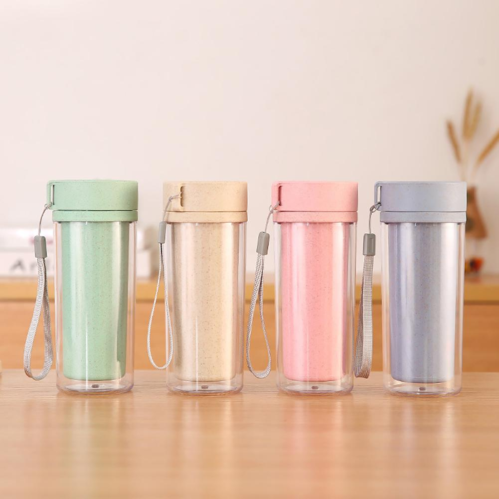 New  Hot Quality Double Wall 400ml Portable Wheat Straw Dual Wall Leakproof Insulation Bottle Vacuum Cup