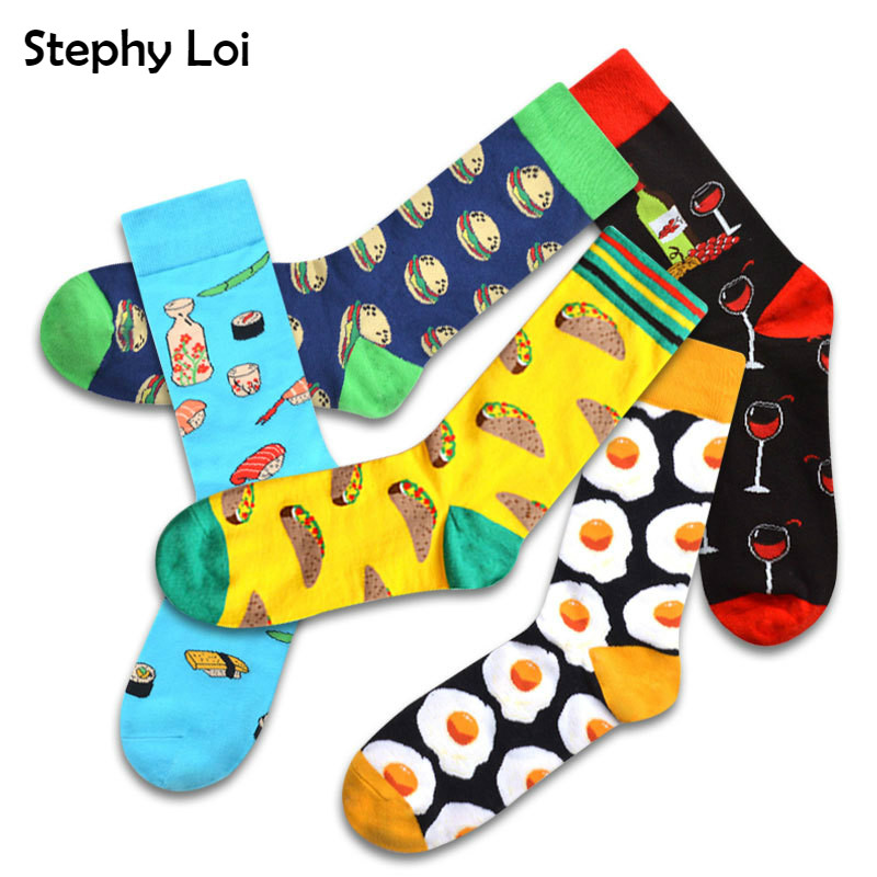 Funny Food Men Crew Socks Beer Sushi Mushroom Egg Shrimp Taco Pattern Gift Winter Harajuku Funky Novelty Happy Sox INS Black