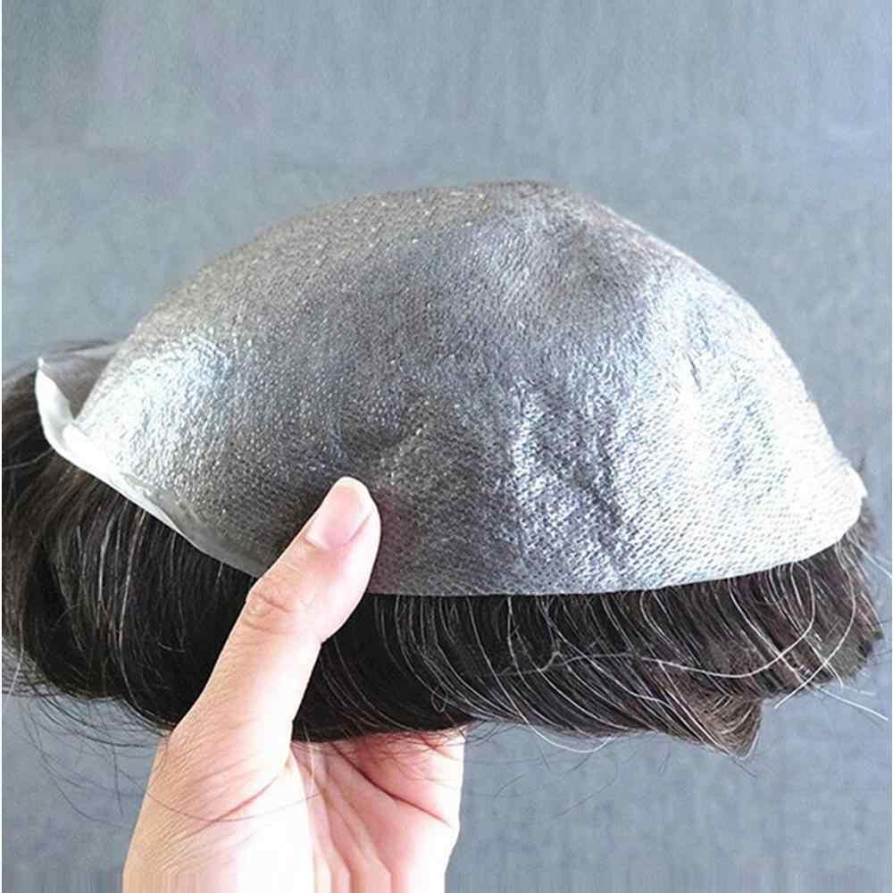 100% de pelo humano para hombres, tupé 8x10 pulgadas, sistemas de reemplazo, peluca artesanal, piel fina, 0,08-0,1mm, cabello Remy Natural para hombres