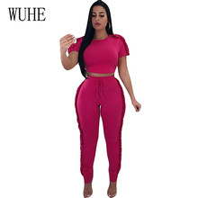 цены WUHE Elegant Two Pieces Sets Lace-up Short Sleeve Ruffle Jumpsuits Women Round Neck Summer Playsuits Skinny Ruffle Trim Overalls