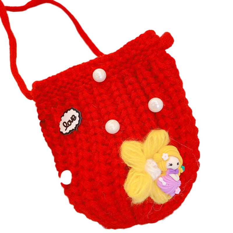 Детская сумка для девочек с милым мультяшным жемчугом, Вязаная Детская сумка через плечо, сумки через плечо, сумка-мессенджер - Цвет: R