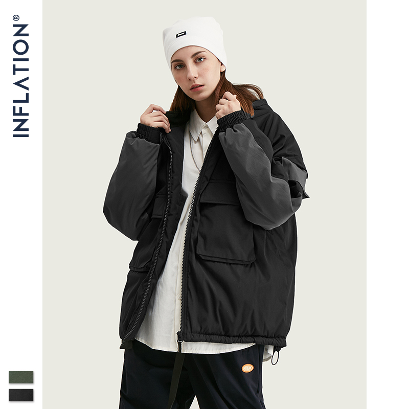 INFLATION BRAND Color Block Winter Coat Men Hip Hop Loose Fit Hooded Jackets Men 2019 Stitching Parka Jackets Men Clothing 9756W