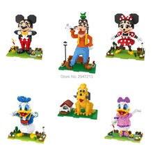 цена на hot LegoINGlys creators classic Mouse duck dog Mickey Goofy Donald Minnie Daisy Pluto model mini micro diamond blocks brick toys
