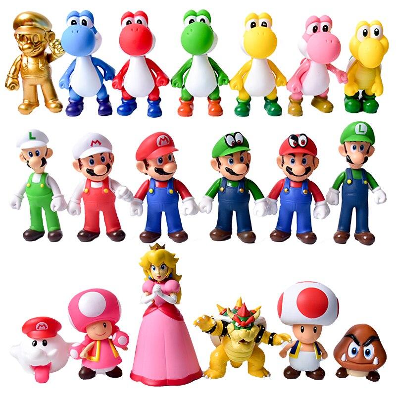 8-12Cm Super Mario Bros Luigi Mario Yoshi Koopa Yoshi Mario Maker Odyssey Mushroom Toadette PVC Action Figures Toys Model Dolls
