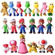 8 12Cm Super Mario Bros Luigi Mario Yoshi Koopa Yoshi Mario Maker Odyssey Mushroom Toadette PVC Action figuren spielzeug Modell Puppen