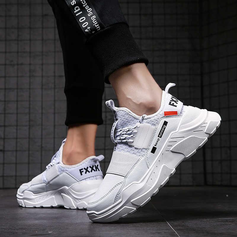 2020 sapatos masculinos de pouco peso respirável confortável clássico dos homens sapatos casuais antiderrapantes moda masculina tênis de malha com cadarço