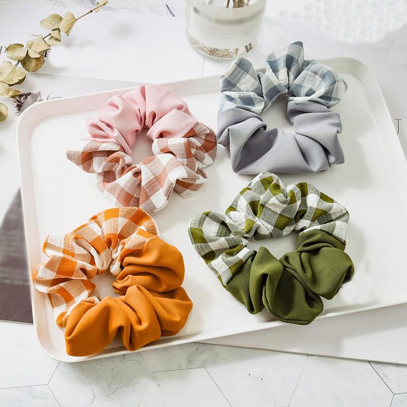 New Vintage Splicing Color Hair Rope Scrunchie Soft Elastic Bands Hair Ties Ponytail For Hair Accessories Sweet Korean Headwear